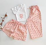 Домашний костюм-пижама хлопковый, в розовые сердечка, футболка и штаны, фото 5