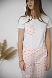 Домашний костюм-пижама хлопковый, в розовые сердечка, футболка и штаны, фото 2