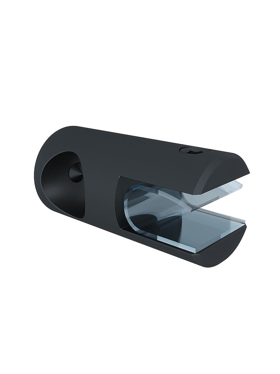 ODF-09-16-21 Крепление душевой штанги 16 мм для стекла накидное, продольное, сквозное, черное