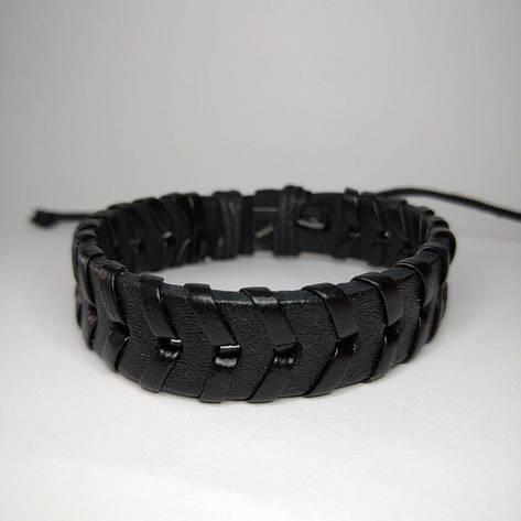 Плетений шкіряний браслет протектор чорний KB-4, фото 2