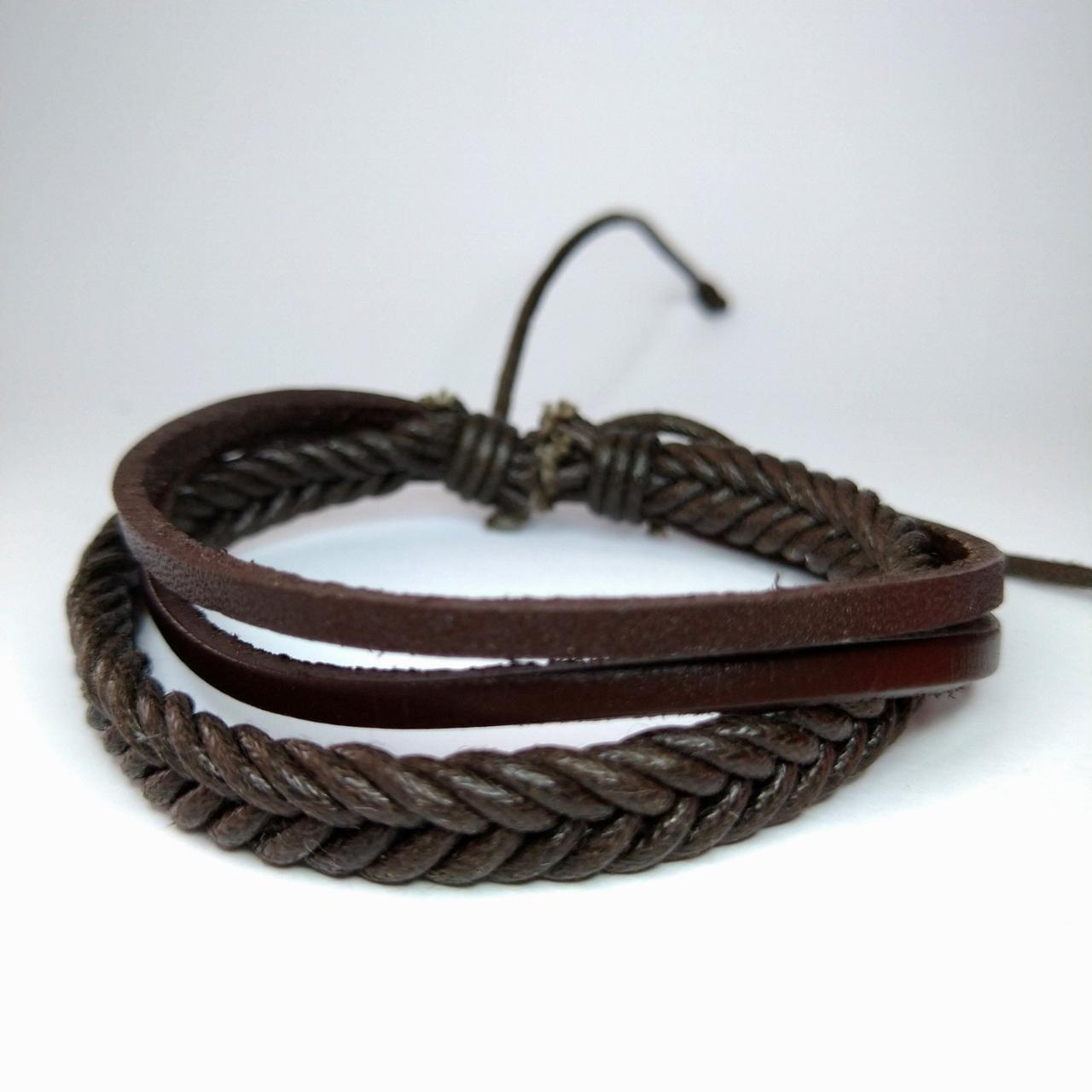 Плетений шкіряний браслет коричневий KB-1