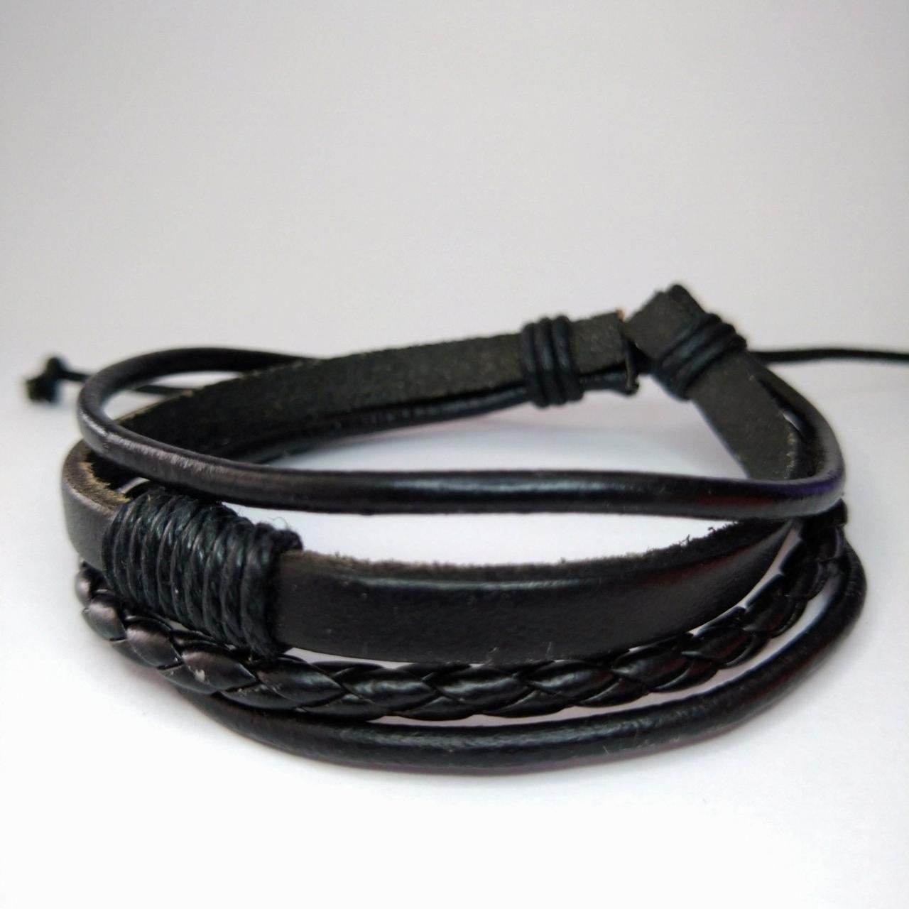 Кожаный плетеный многослойный браслет черный KB-23