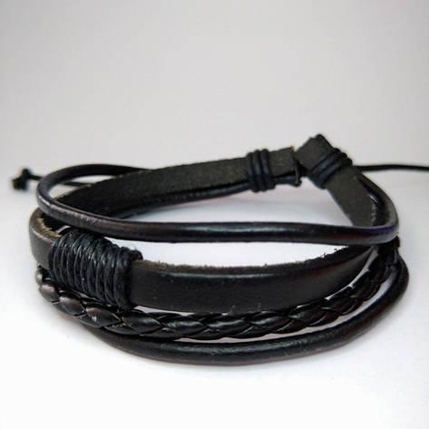 Плетений шкіряний багатошаровий браслет чорний KB-23, фото 2