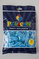Воздушные шарики Pelican 12(30 см) голубые перламутровые, 50 шт, арт.1250-748