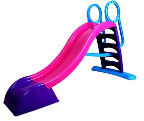 Горка спуск детская пластиковая Mochtoys 180 см, розовая