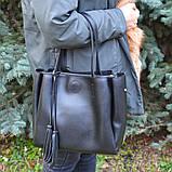 Голубая женская сумка шоппер K08-19/2 с двумя длинными ручками на плечо, фото 4