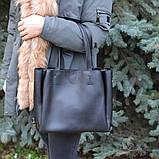 Голубая женская сумка шоппер K08-19/2 с двумя длинными ручками на плечо, фото 5