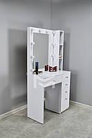 Укороченный гримерный туалетный столик визажиста Jasmine М6208 с подсветкой и полочками на 1 тумбу