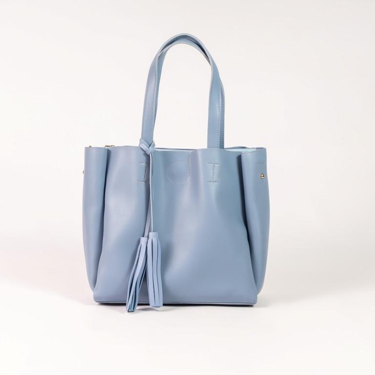 Голубая женская сумка шоппер K08-19/2 с двумя длинными ручками на плечо