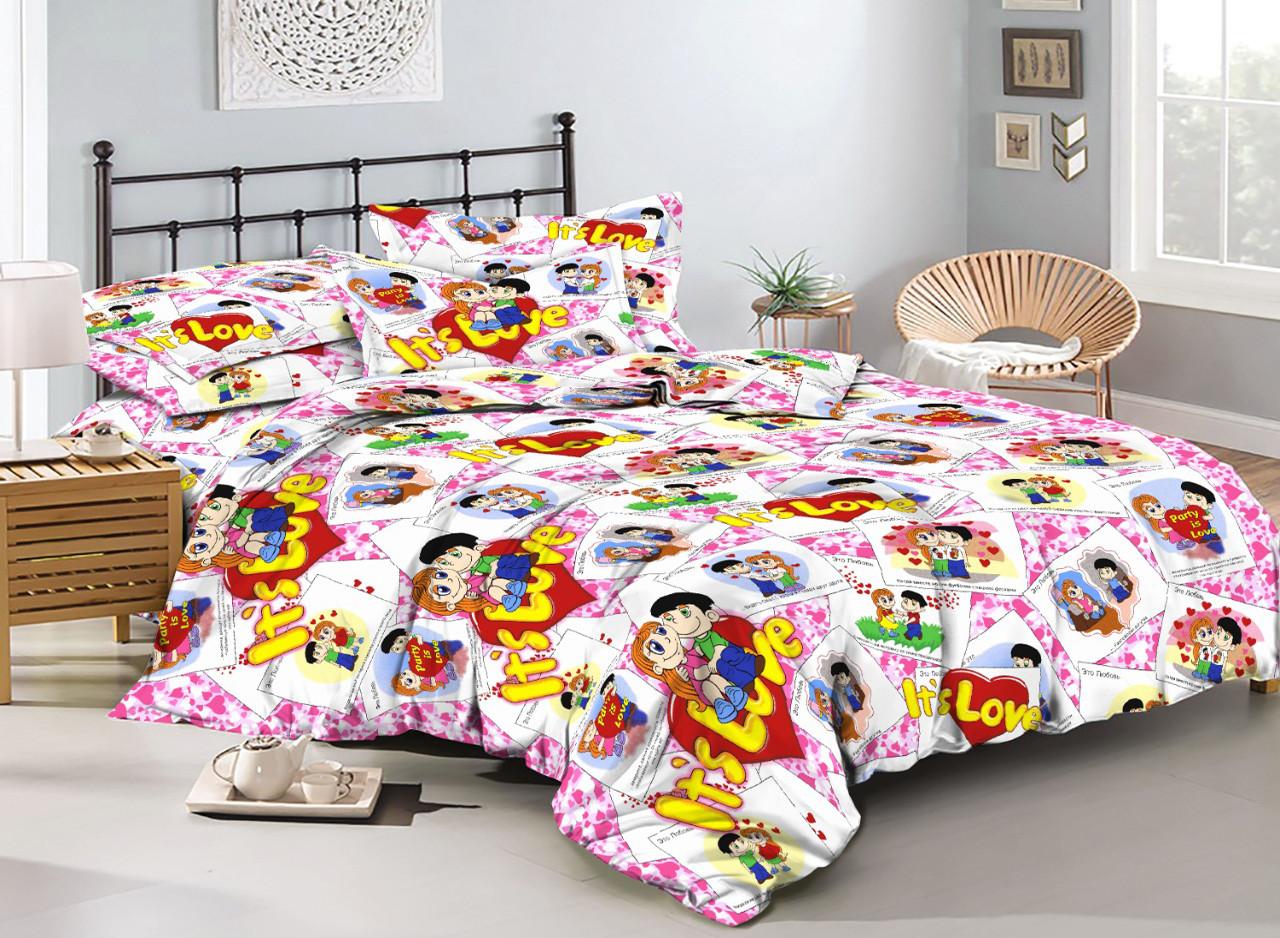 Комплект постельного белья евро на резинке 200*220 хлопок (17214) TM KRISPOL Украина