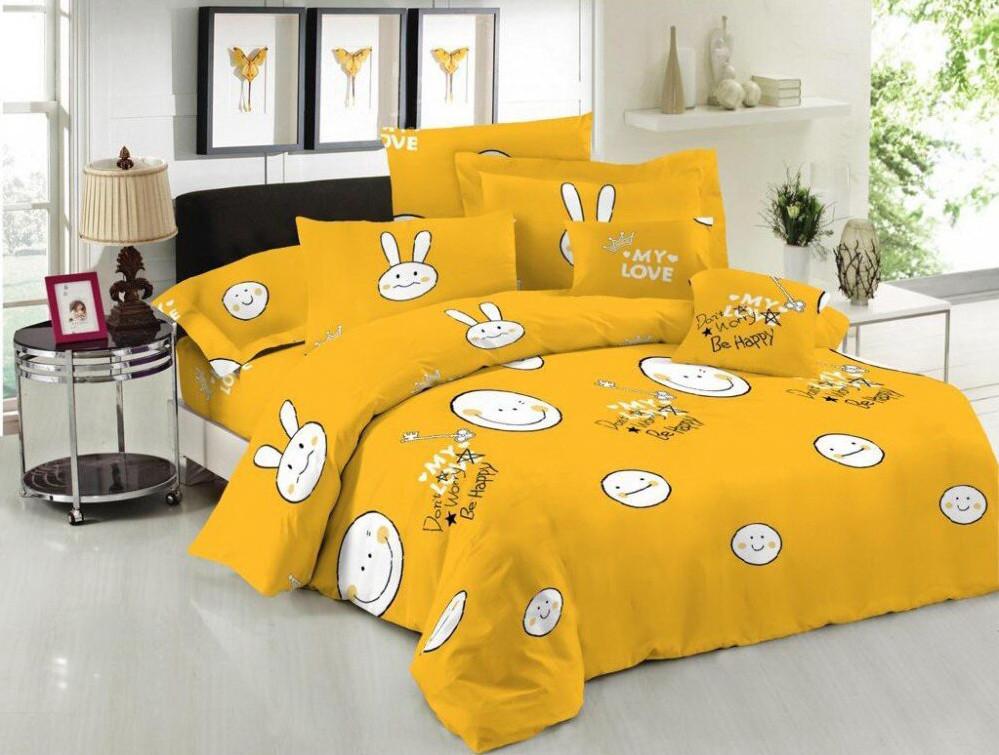 Комплект постельного белья евро на резинке 200*220 хлопок (17215) TM KRISPOL Украина
