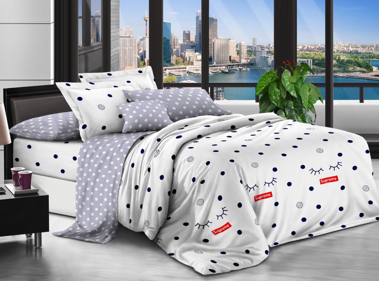 Комплект постельного белья евро на резинке 200*220 хлопок (17221) TM KRISPOL Украина