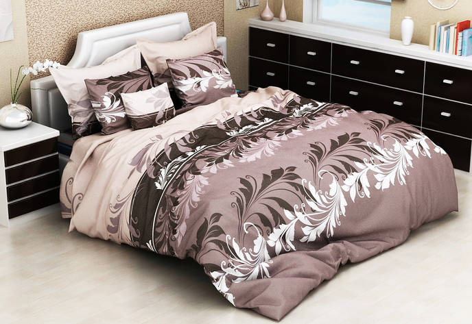 Комплект постельного белья евро на резинке 200*220 хлопок (17241) TM KRISPOL Украина, фото 2