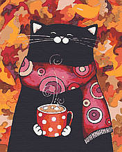 Картини по номерах тварини коти 40х50 Листокіт