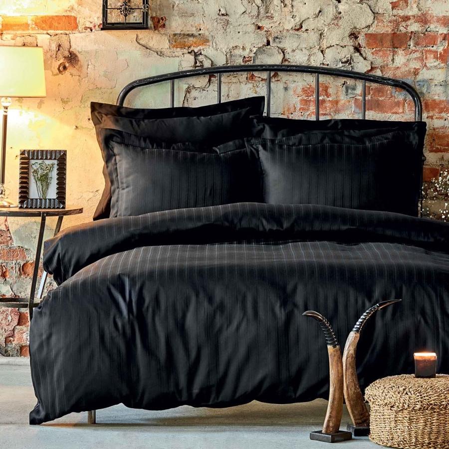 Постельное белье Karaca Home сатин - Charm bold siyah черный полуторный