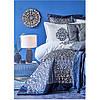 Набор постельное белье с покрывалом + плед Karaca Home - Camilla indigo 2020-2 индиго евро(13), фото 5