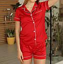 Піжама жіноча шовк армані у червоному кольорі. ТМ Lekol. S. M. L, фото 5