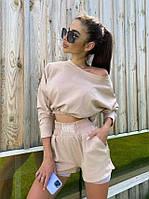 Женский стильный костюм: укороченный батник и шорты, фото 1