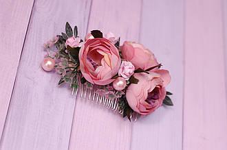 Гребень заколка / украшение для волос в прическу с цветами  бусинами /  с пионами пудровый