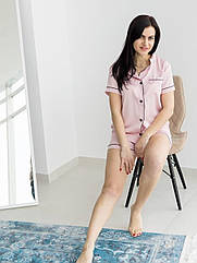Піжама жіноча шовк армані у пудровому кольорі. ТМ Lekol. L