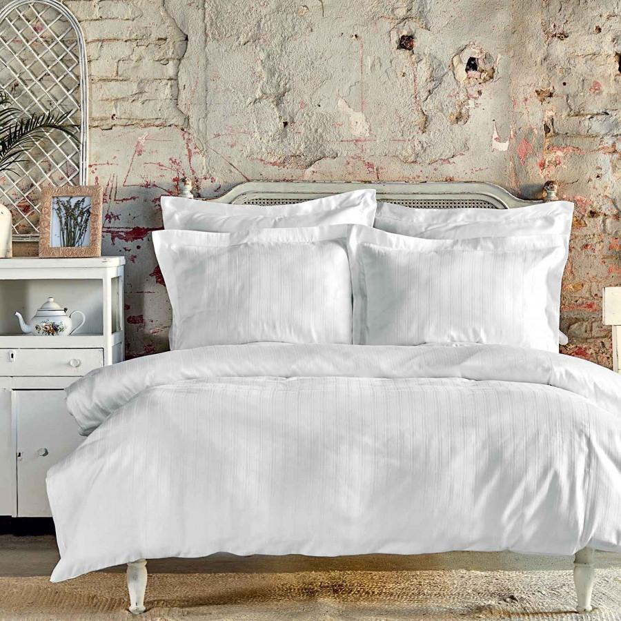 Постільна білизна Karaca Home сатин - Charm bold beyaz білий євро