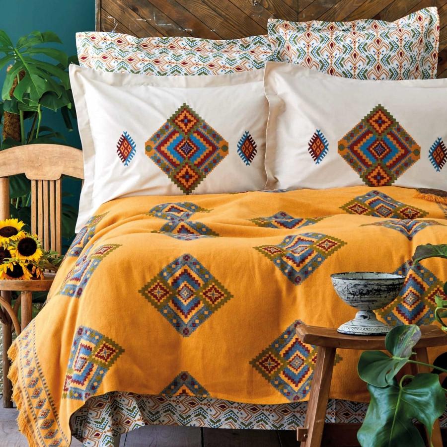 Набор постельное белье с покрывалом Karaca Home - Mentha hardal горчичный евро