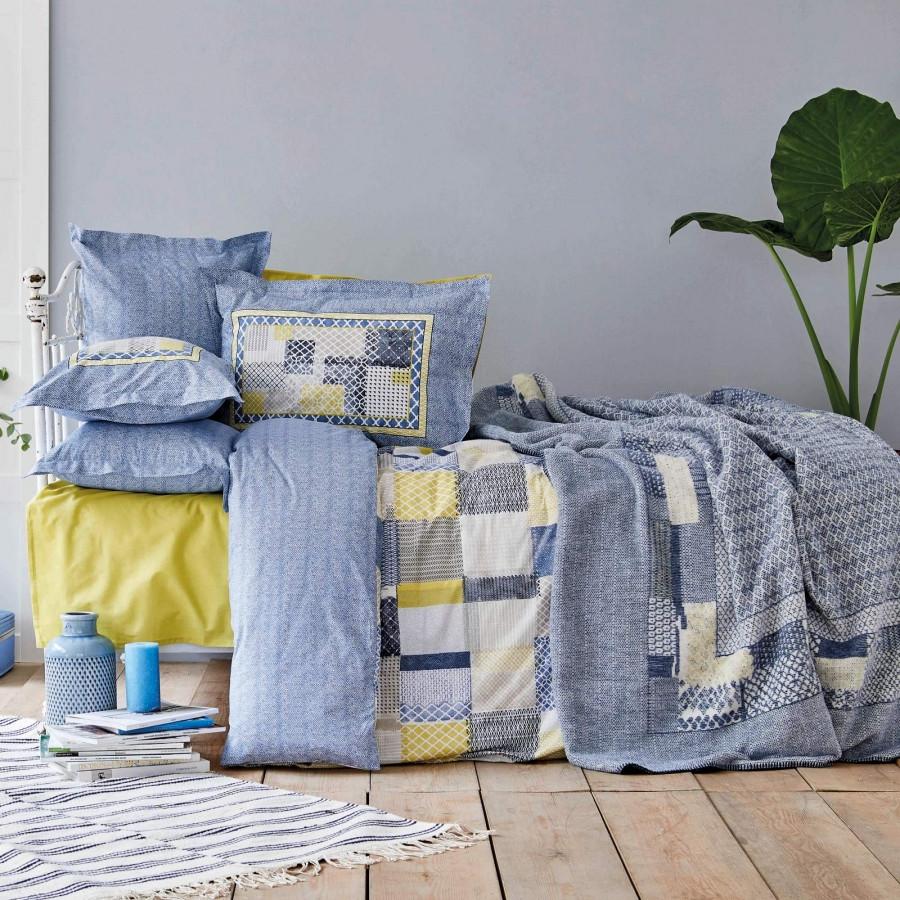 Набор постельное белье с пледом Karaca Home - Bosa indigo индиго евро