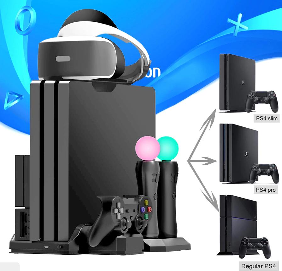 Багатофункціональна вертикальна охолоджуюча підставка DOBE для PS4 / Pro / Slim + PS VR / PS Move / Dualshock