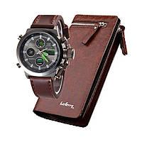 Чоловічі наручні тактичні годинник AMST Коричневі + Подарунок портмоне гаманець Baellerry Italia