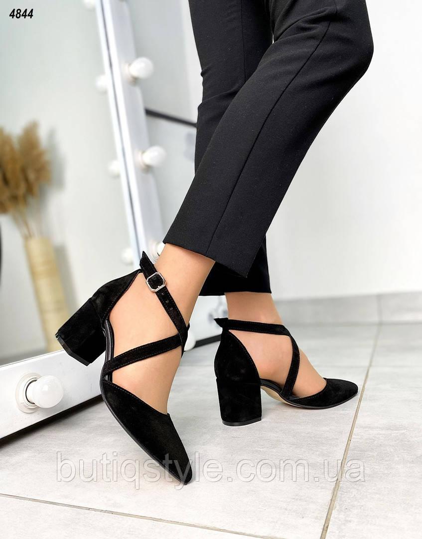Женские черные туфли натуральная замша на каблуке