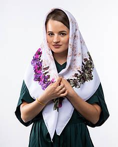 Кашемірова хустка з квітковим принтом 90х90см