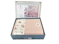 Комплект летнего постельного белья DO&GO Dantelli Pike Somon ранфорс 240-220 см персиковый