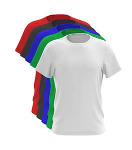 Набор из 5-ти футболок синий белый красный черный зеленый 100% хлопок (любое сочетание), Разноцветный, На