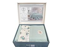 Комплект летнего постельного белья DO&GO Dantelli Pike Yesil ранфорс 240-220 см мятный