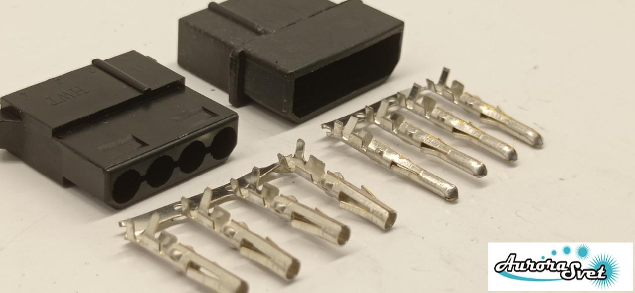 Конектор живлення PSU 4-Pin Molex збірної + контакти,Комплект .Роз'єм блоку живлення/ відеокарта під обжимку