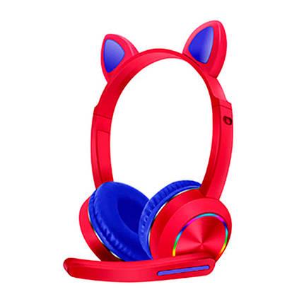 Бездротові навушники для телефону з мікрофоном і LED RGB bluetooth підсвічуванням котячі вушка, фото 2