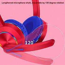 Бездротові навушники для телефону з мікрофоном і LED RGB bluetooth підсвічуванням котячі вушка, фото 3