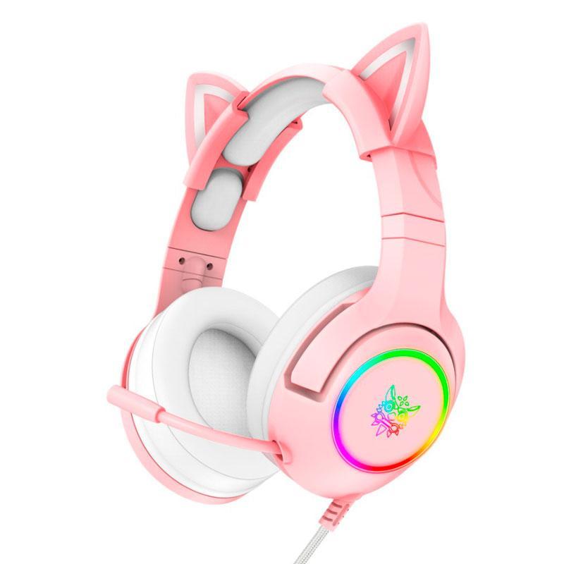 Навушники ігрові з мікрофоном і LED RGB підсвіткою ONIKUMA K9 котячі вушка Pink геймерські