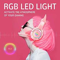 Навушники ігрові з мікрофоном і LED RGB підсвіткою ONIKUMA K9 котячі вушка Pink геймерські, фото 2
