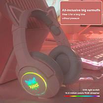 Навушники ігрові з мікрофоном і LED RGB підсвіткою ONIKUMA K9 котячі вушка Pink геймерські, фото 3