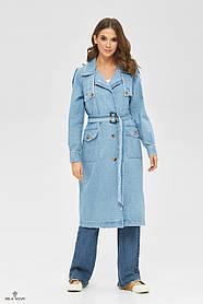 Красивый женский тренч голубого цвета из коттона, размер 44, 46, 50