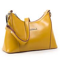 Жіноча містка сумка жовтого кольору шкіра А. Rai класична сумочка з натуральної шкіри, фото 1