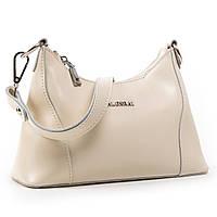 Женская вместительная сумка бежевого цвета кожа А. Rai классическая сумочка из натуральной кожи, фото 1