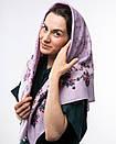 Кашемірова хустка з квітковим принтом 90х90см, фото 3