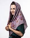 Кашемірова хустка з квітковим принтом 90х90см, фото 6