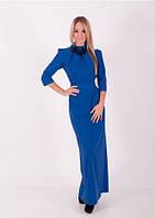 Женское синее длинное вечернее платье ZEAN 8046