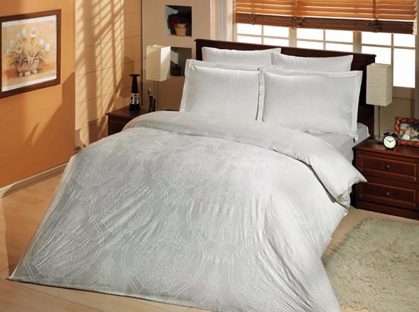 Постільна білизна Євро комплект Altinbasak сатин люкс Scarlet beyaz