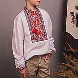 Підліткова вишиванка c червоно-помаранчевої вишивкою, фото 2