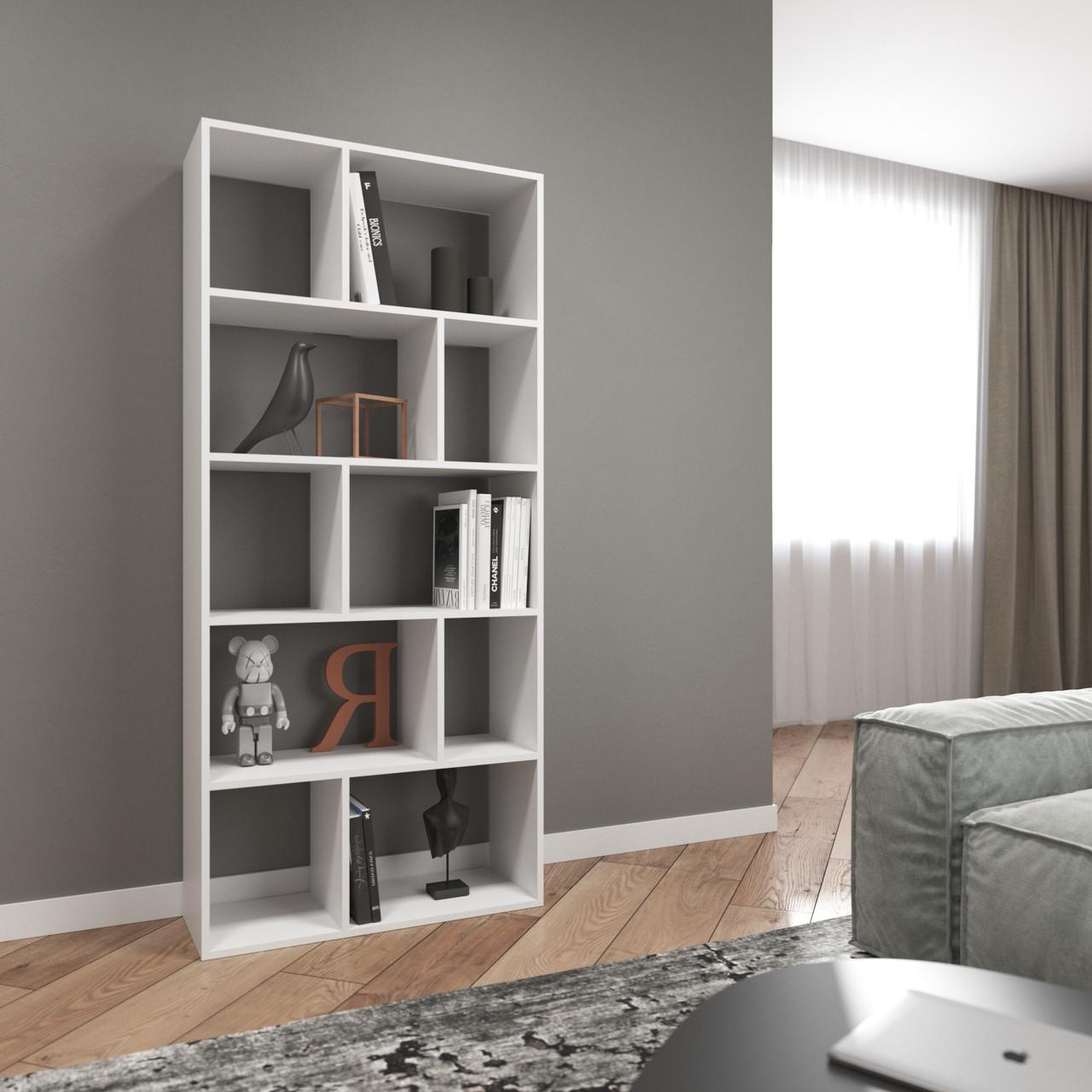 Книжная полка, стеллаж для книг и декора, этажерка для игрушек на 10 ячеек D-1