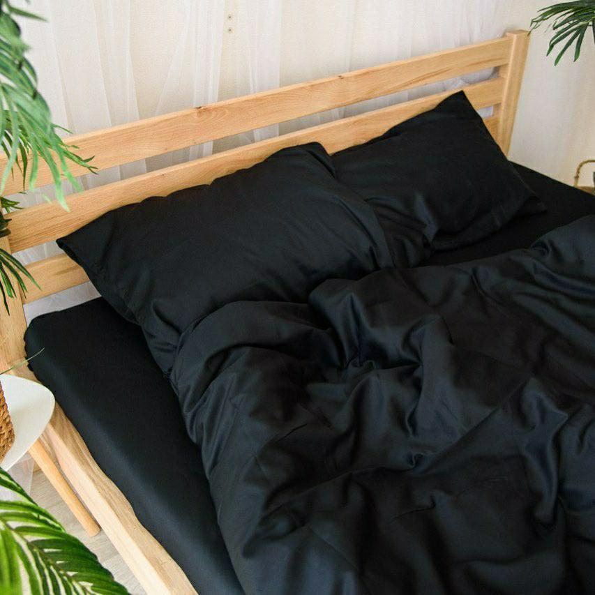 Комплект постельного белья однотонный Бязь GOLD 100% хлопок Черного цвета